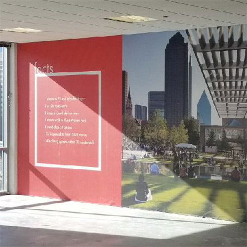 Office wall mural with large landscape photo and printed text